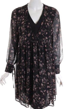 Reserved Langarmkleid schwarz-rosa florales Muster Casual-Look