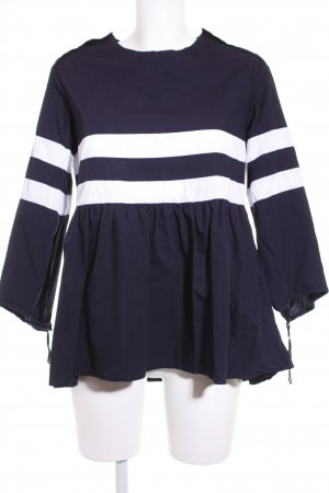 Reserved Oversized blouse donkerblauw-wit gestreept patroon marine uitstraling