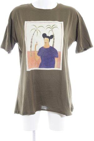 Reserved Print-Shirt olivgrün Motivdruck Casual-Look
