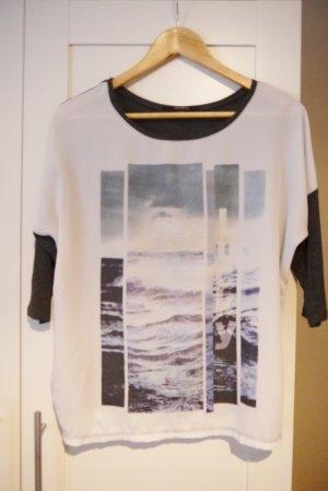 Reserved Shirt dunkelgrau mit Motiv Wellen Meer Gr. S