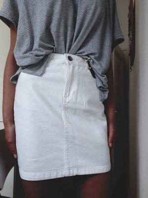 Reserved Falda de talle alto blanco