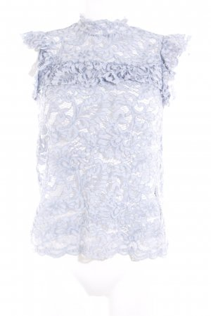 Reserved Kanten blouse azuur casual uitstraling