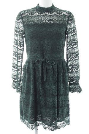 Reserved Kanten jurk donkergroen Webpatroon romantische stijl