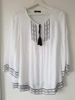 RESERVED Tunika-Bluse, Gr.38, weiß/schwarz, mit Binde-Quasten