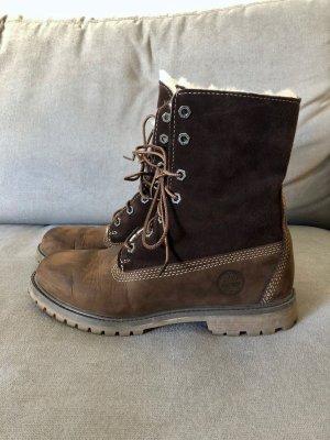RESERVIERT Boots Timberland Shearling Lammfell Wildleder braun chocolate 39 neu winter