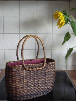reserviert - Korb braun geflochten Weide Tasche Picknick Körbchen 90er - Vintage -