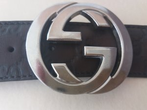 (Reserviert) Original GG Interlocking Gucci Logo Ledergürtel dunkelbraun