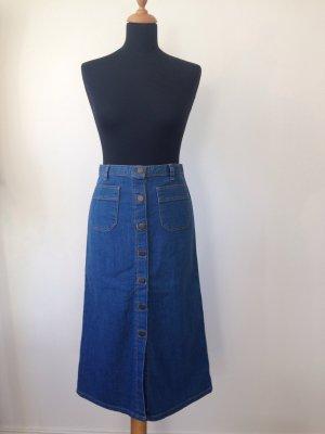 Retro 50ies Boho feminin Pinup Midi Knöpfe Rock Jeansrock denim Jeans Blogger