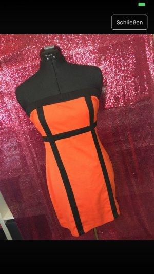 Retro 70er 80er Jahre Kleid schwarz Orangen Karneval Fasching