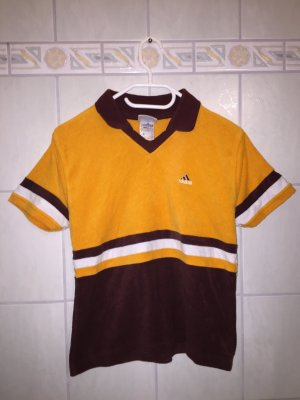Adidas Polo orange-brun rouge coton