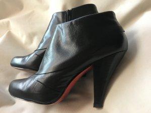 Retro Ankle Boots Gr.39 Leder schwarz