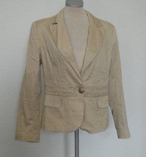 retro Blazer Gr. UK 14 EUR 42 M L braun beige gerafft Baumwolle tailliert büro