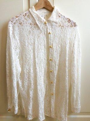 Retro Blumen-Muster Bluse weiß Apart