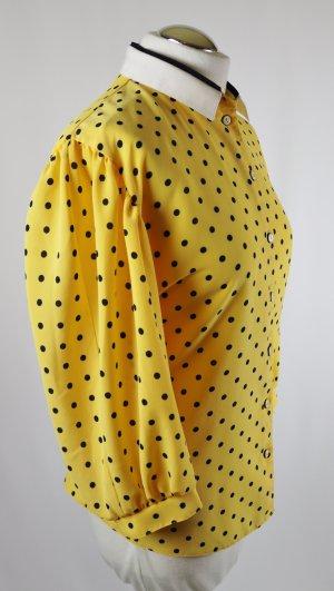 Retro Bluse Krepp Erfo jeunesse Größe XXL 46 Gelb Weiß Dunkelblau Blau 3/4 Arm Punkte Vintage Dots Rockabilly