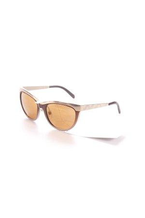 Retro Brille bronzefarben-goldfarben Aztekenmuster 50ies-Stil