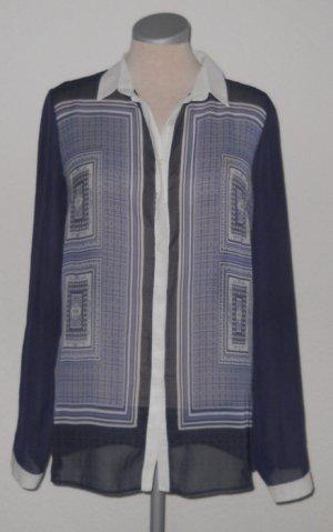 retro Chiffon Bluse langarm blau weiß Gr. 38 UK 10 Dorothy Perkins neu