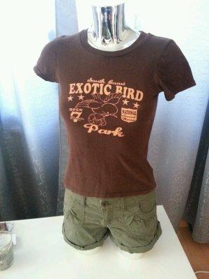 RETRO College T-Shirt braun / apricot Gr. XS / S Exotic Bird üßer Vogel Print