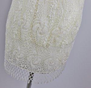 Retro Edel Perlen Long Top Größe S 36 Tunika Creme Weiß Hellbeige Perlen Häkel 20er Flapper Viskose Glitzer Netz Minikleid