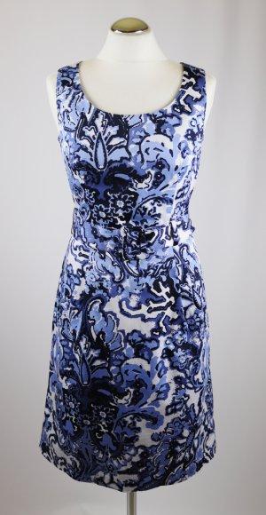 Retro Etuikleid Kleid Blumenmuster H&M Größe M 40 Weiß Blau Dunkelblau Gürtel Pencil Skirt Dress Festlich