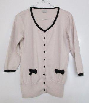 Retro Feinstrick Cardigan Pullover H&M Größe 36 Rose`Altrosa Pastell Schwarz Schleife Pulli Jacke Pin Up