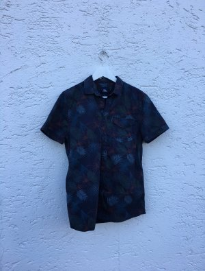 One vintage Camisa de manga corta azul oscuro-gris pizarra