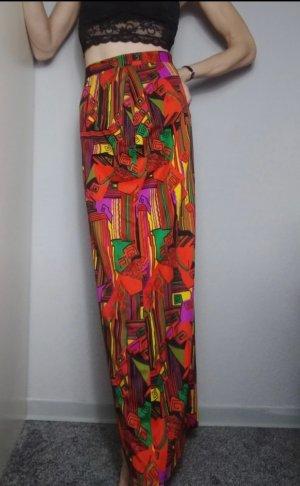 Falda de talle alto naranja-verde