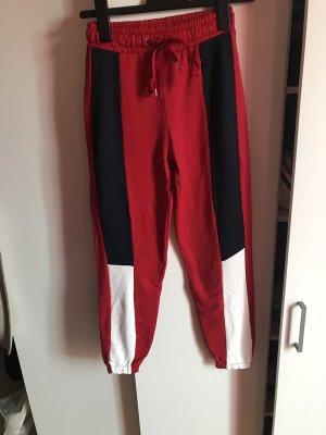 Retro highwaist Jogger pants rot blau weiß neu