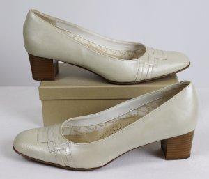 Retro Hochzeit Pumps Schuhe Bonne forme Größe 5,5 * 38 * 38,5 * 39 Perlmutt Creme Trotteur Fußbett Kunstleder