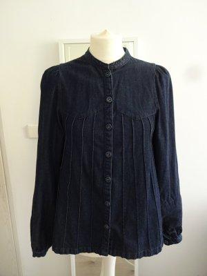 retro Jeansbluse dunkelblau puffärmel