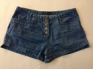24Colours Denim Shorts steel blue-brown cotton