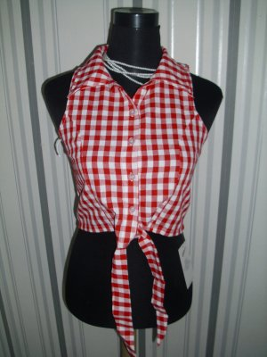 Checked Blouse white-red mixture fibre