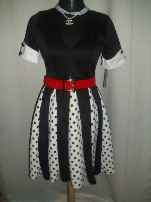 Retro- Kleid (B111) mit V-Ausschnitt Größe 34