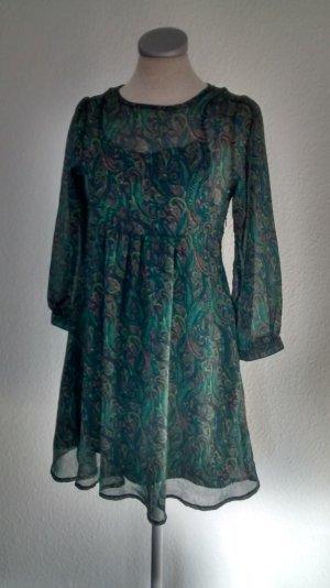 retro Kleid grün Gr. 34 XS grün Chiffon Minikleid Paisley