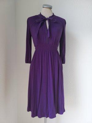 retro Langarm Kleid knielang lila Gr. 34 XS gerafft Esprit Schluppe Schleife