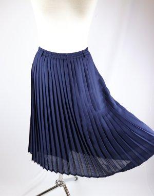 Vintage Jupe plissée bleu foncé polyester