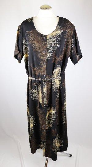 Retro Maxikleid Hemdblusenkleid Kleid Größe XL 42 44 Schwarz Feder Braun Beige Kurzarm Bindeband Knöpfe