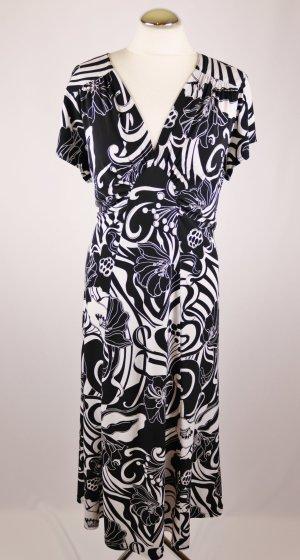 Retro Maxikleid Kleid Tia Größe XXL 44 Jersey Stretch Schwarz Weiß Vintage Look Blumen Muster 20er