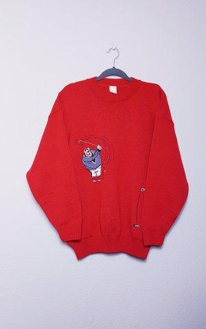 Vintage Oversized Sweater black-red