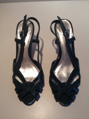 Esprit Strapped High-Heeled Sandals petrol leather