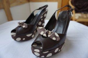 Guess by Marciano Plateauzool sandalen bruin-wit Textielvezel
