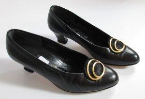 Retro Pumps Schwarz Leder Schnalle Größe 4,5 37 Viktorianisch 80er Goldfarben Kreise
