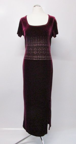 Retro Samt Maxikleid Kleid Größe M 40 Bordeaux Dunkle Rot Glitzer Muster Abendkleid Flapper 20er Jahre Look Stretch