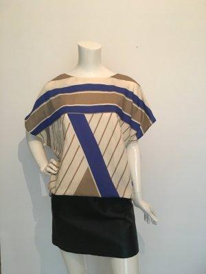 Retro Shirt 48 oversized onesize top schlupfbluse creme offwhite blau royalblau beige streifen abstrakt gestreift Gemustert Unit Kimonoärmel weit