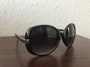 Retro Sonnenbrille groß Schwarz Silber