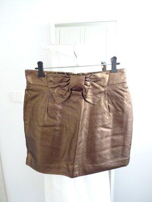 H&M Falda de talle alto color bronce