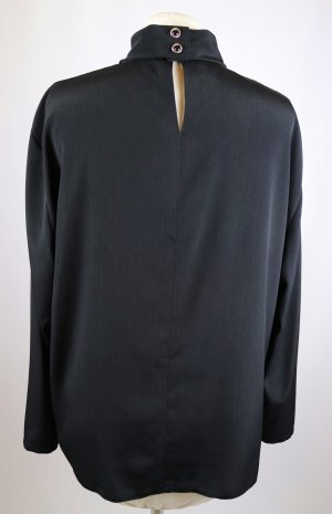 Erfo Stand-Up Collar Blouse black-gold-colored polyester