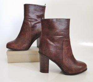 Retro Stiefel H&M Größe 41 Braun Kroko Prägung 60er Look Ankle Boots Stiefelette Hippie