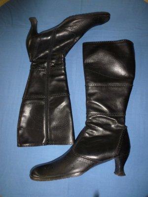 Retro-Stiefel, schwarz, mittlerer Absatz, Gr. 41 - in gepflegten Zustand