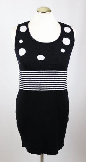 Retro Strick Long Top Tunika Pullover Liberty Größe M 38 Schwarz Weiß Punkte Dots Streifen Strickpulli Kleid Minikleid