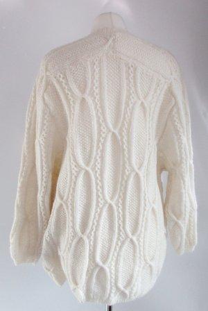 Retro Strickjacke Cardigan Wollweiß L 42 V-Neck Jacke Warm Strick Weiß Handmade Muster Raglan Pulli Oversize Long Pullover